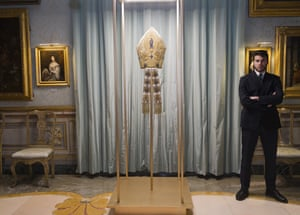 The 1929 mitre of pope Pius XI on display in Rome.