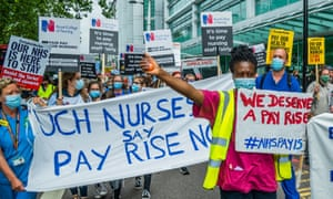 Nurses marched to Parliament Square demanding a pay rise and better working conditions