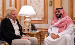 Sir Richard Branson meets the Saudi crown prince, Mohammed bin Salman, in Riyadh last year.