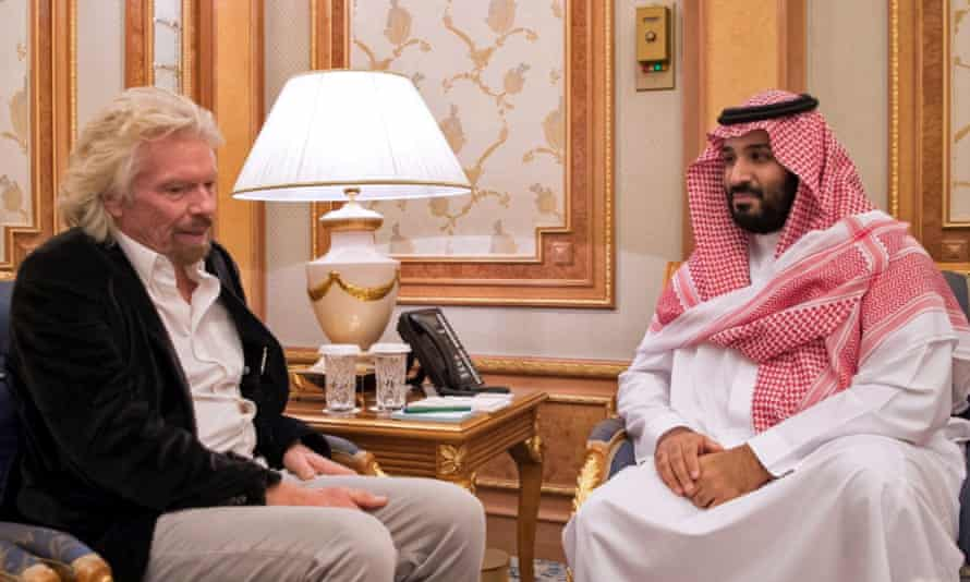 Sir Richard Branson meets the Saudi crown prince, Mohammed bin Salman, in Riyadh last year.