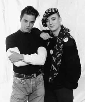 Musicians Nick Kamen and Boy George, of the band Culture Club, March 1987