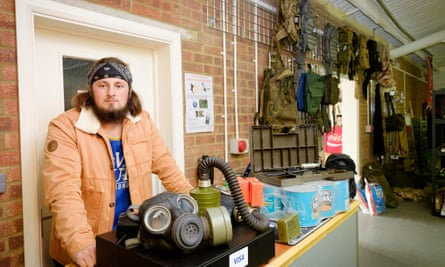 Lincoln Miles at his survivalist store Preppers Shop UK in Bedfordshire.