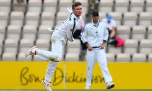 Mason Crane bowls for Hampshire in their recent County Championship match against Lancashire.