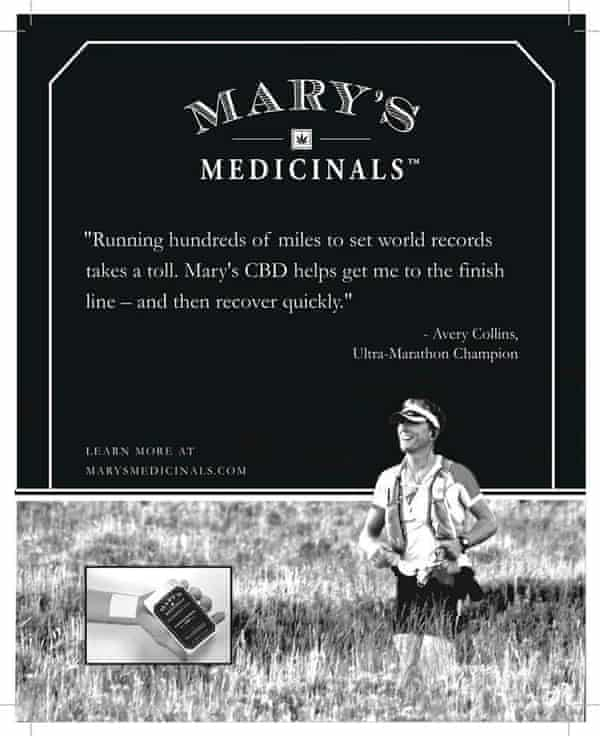 Avery Collins promotes Mary's Medicinals.