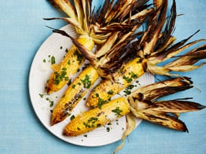 Yotam Ottolenghi's corn grilled in its husk with creamy pecorino dressing.
