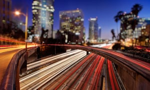 Car trails of the freeways of downtown Los Angeles at night