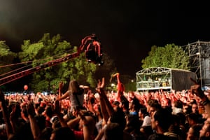 Crowds dance to Manu Chao at Exit festival in 2015.