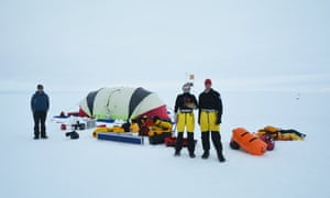 Chilling out: a research camp on the Totten Glacier in Antarctica, with scientists (from left) Paul Winberry, Madi Rosevear and Ben Galton-Fenzi.
