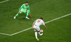 Croatia's Danijel Subasic thwarts England's Harry Kane.