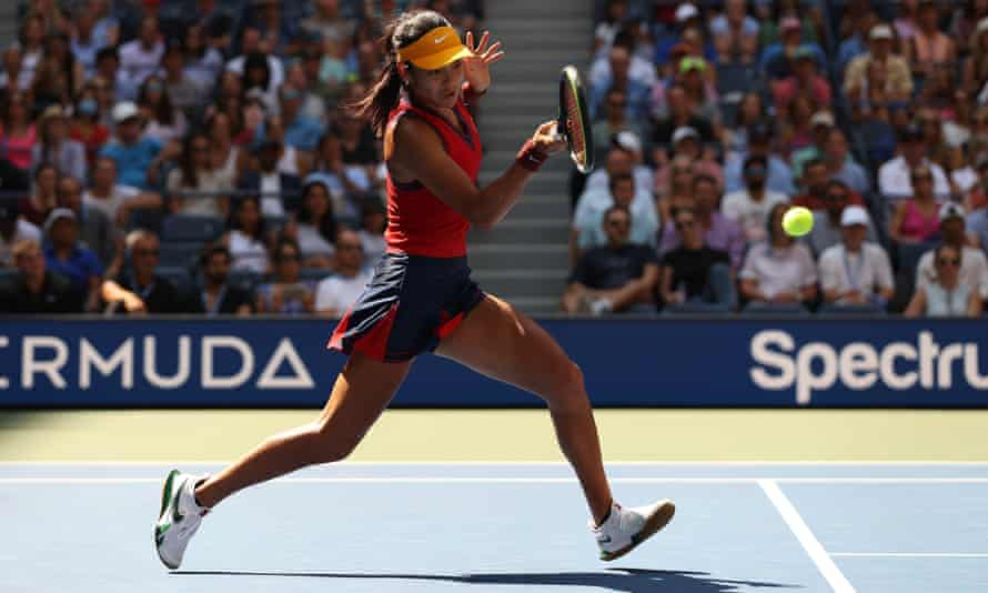 Emma Raducanu was forced to stretch and lunge at times against Belinda Bencic but won in straight sets.
