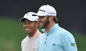 Private joke: Dustin Johnson with Tiger Woods, Palm Beach Gardens, Florida, February 2013.