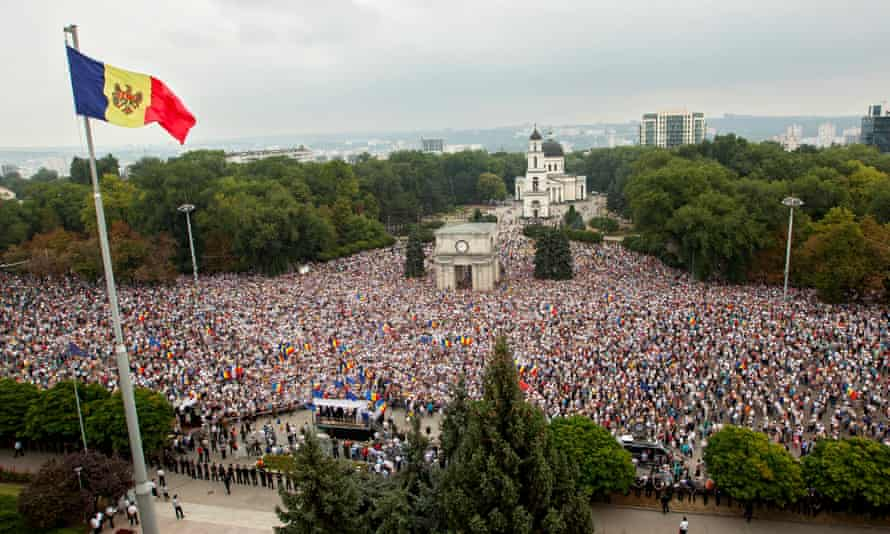 Protesters at the central square at Moldova's National Assembly
