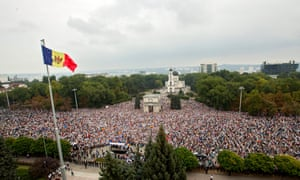 An anti-government rally in Chisinau, Moldova, in 2015.