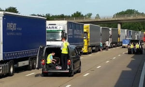 Lorry drivers stranded on the M20