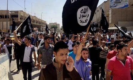 Pro-Isis demonstrators in Mosul, Iraq