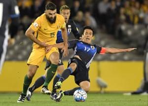 Mile Jedinak had little joy during Australia's first half against Japan.