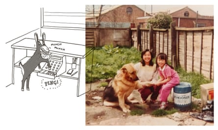 Lucky, Sue and Moe in the takeaway back garden.