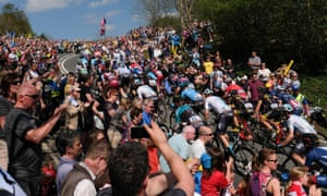 Crowds out in force on Sutton Bank during the third stage of the Tour de Yorkshire in May 2018.