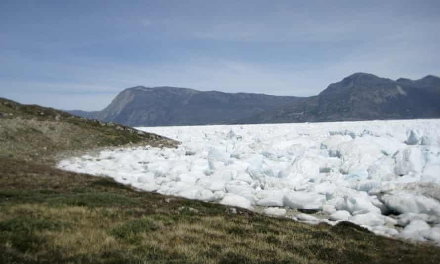 An image taken on 18 June 2019 of the Kangersuneq glacial ice fields in Kapissisillit, Greenland.