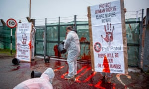 One of the pictures taken by Andy Aitchison at the protest outside Napier Barracks in Folkestone.