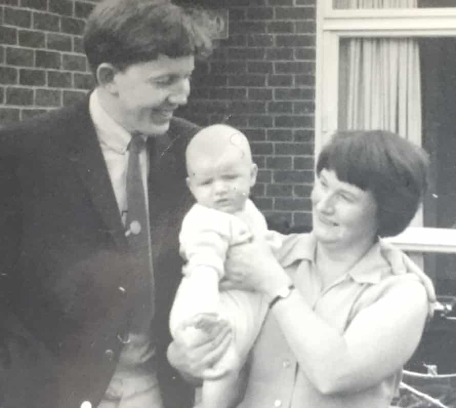 Bring me my cardboard beak … the future dramatist with his parents.