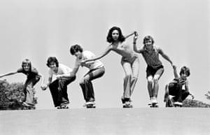 Fashion shoot on skateboards, Frank Martin, June 1976