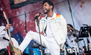 Best foot forward: Miguel performs at the 2016 Wireless Festival in London's Finsbury Park.