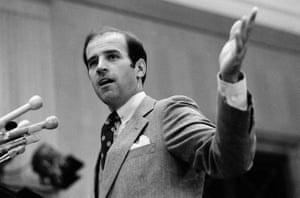 Senator Joseph Biden addresses a Washington press conference on the Salt II arms control treaty in October 1979.