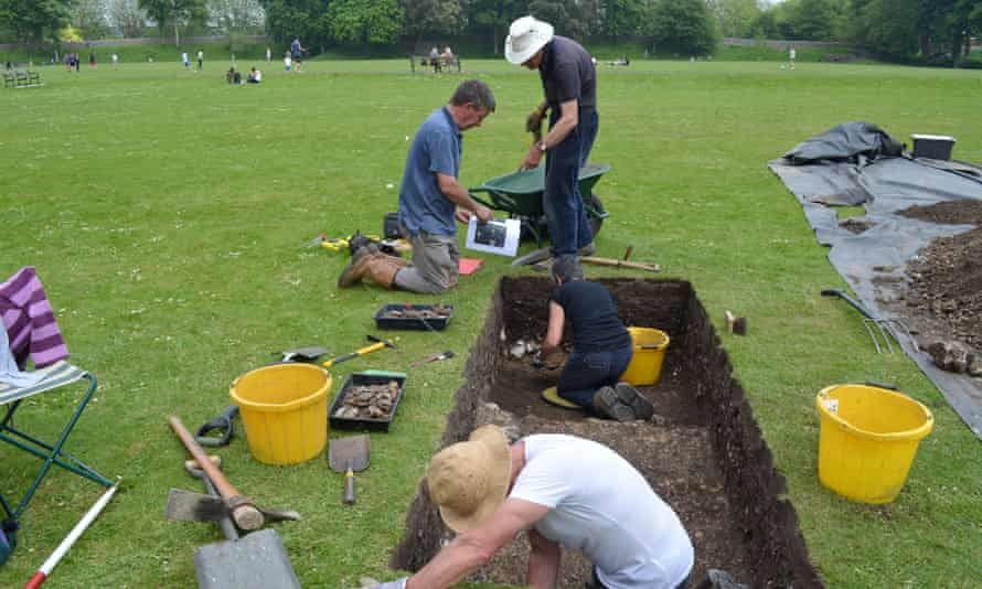 Archaeologists digging in Priory Park in Chichester, West Sussex, where the remains of three near-complete Roman buildings were discovered.