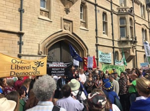 Protesters outside Balliol College in Oxford, previously attended by Johnson