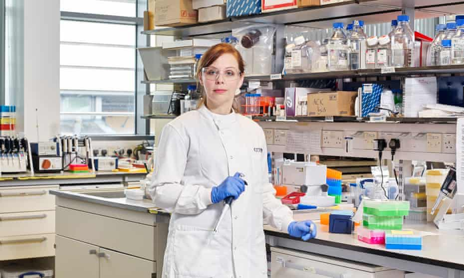 Scientist Christina Dold in a lab