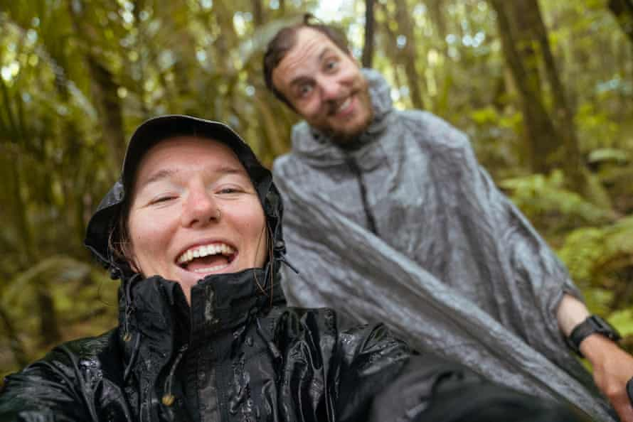 Perth based photographer Louise Coghill hiking the Te Araroa trail: 3,000km down the length of New Zealand, from Cape Reinga in the north to the southernmost point of Bluff. Selfie with Louise and Marco