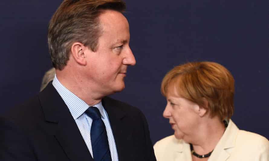 David Cameron and Angela Merkel during EU summit in Brussels.