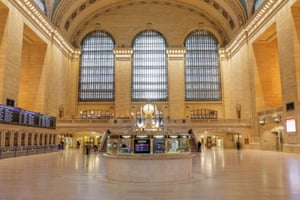 The clock strikes noon at the main concourse of the Grand Central Terminal in New York, US