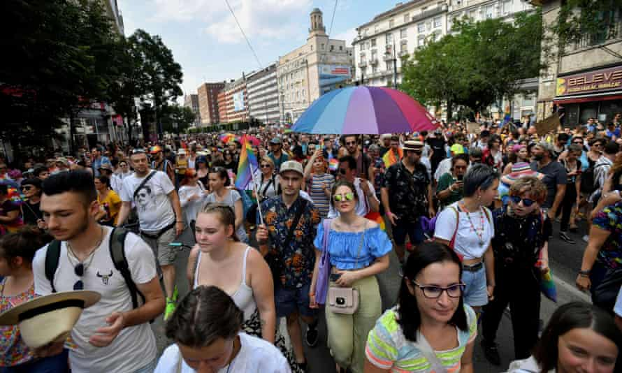 People take part in Budapest Pride
