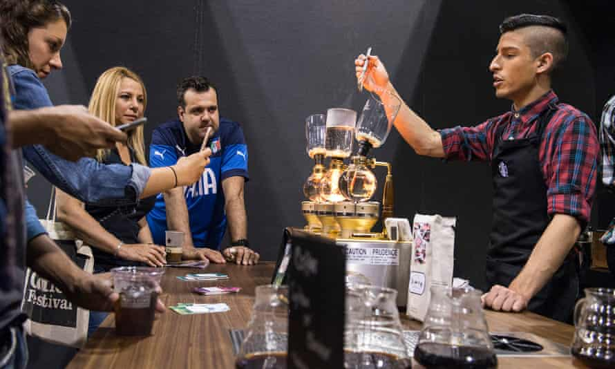 Brewing at the Coffee Masters competition.