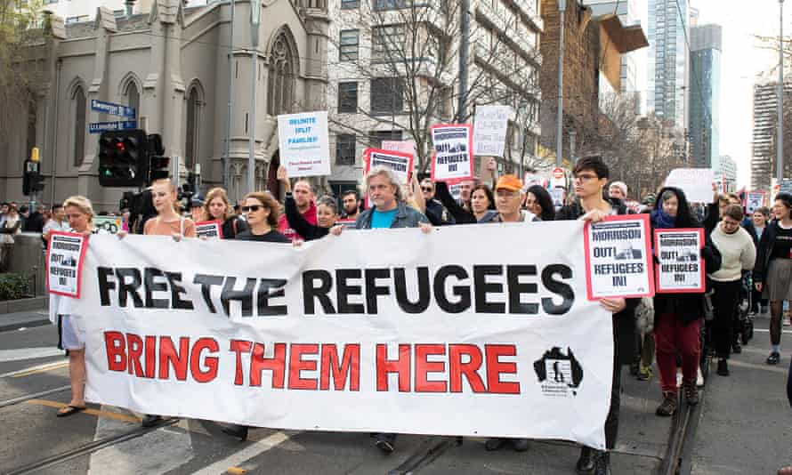 Refugee advocates at a rally in Melbourne last August.