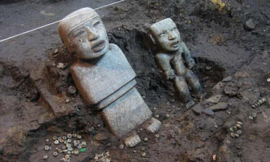 Two of the statues found standing in the tunnel.