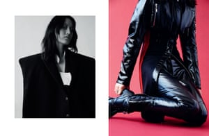 Exaggerated shoulder jacket, from a selection, by Jacquemus, jacquemus.com. Shirt dress, price on request, by Calvin Klein, calvinklein.com Jacket, £3,500, trousers, £2,450, and boots from a selection, all by louisvuitton.com