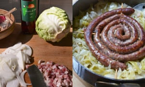 Delicious and simple: meltingly soft smothered cabbage under a fortanini sausage.