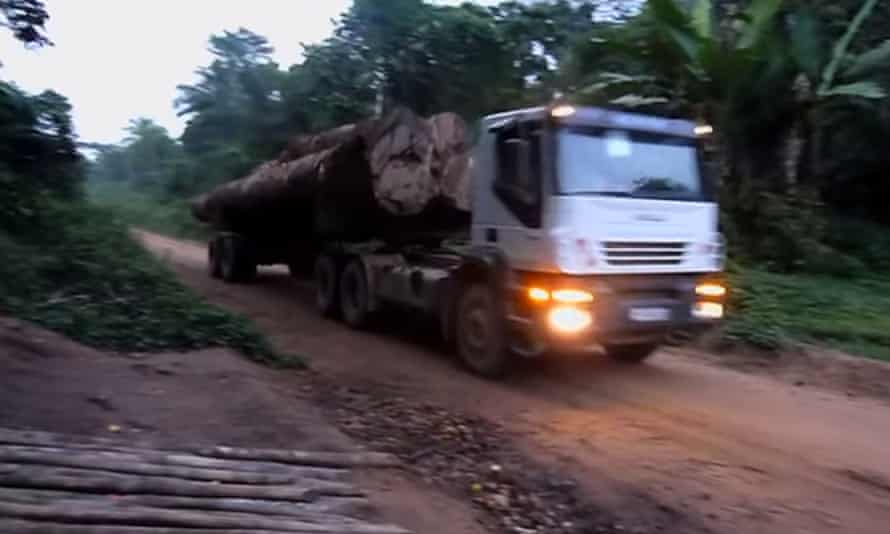 Still from Global Witness Blood Timber report on Central African Republic timeber illegal traffic occuring during civil war issued in July 2015