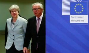 Theresa May and Jean-Claude Juncker.