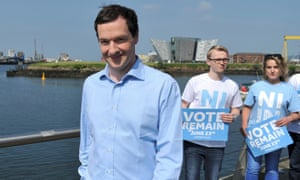 George Osborne with remain campaigners in Belfast