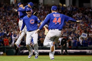 Kris Bryant and Anthony Rizzo celebrate the moment the Chicago Cubs changed history.