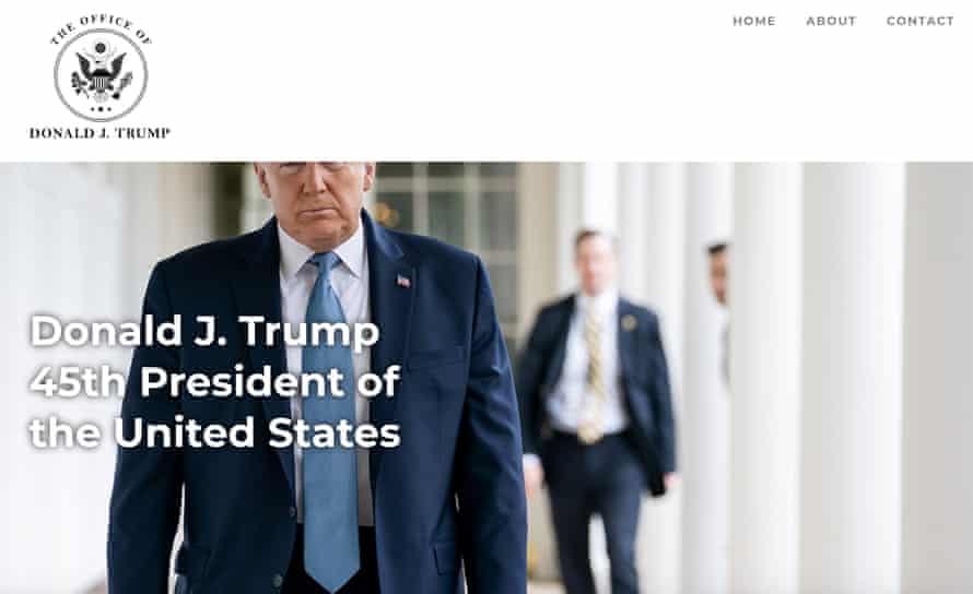 Captura de pantalla del nuevo sitio web de Donald Trump.