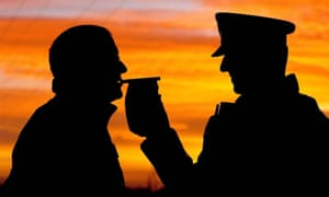A police officer administers a breathalyser test for alcohol. Researchers have now developed a portable testing kit to detect cocaine use.