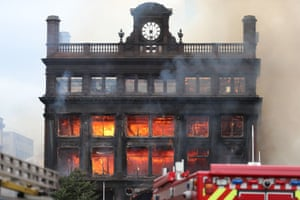 Flames from a major blaze which has broken out at the Primark store in Belfast city centre.