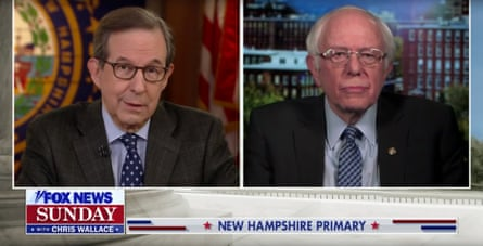Bernie Sanders appears on Fox News Sunday with Chris Wallace, ahead of the New Hampshire Democratic primary.