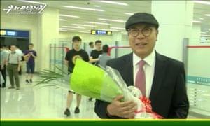A screengrab of footage of Choe In-guk broadcast on North Korea's state-run Uriminzokkiri news website