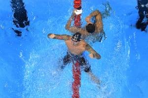 Anthony Ervin of the United States celebrates winning the men's 50m freestyle.